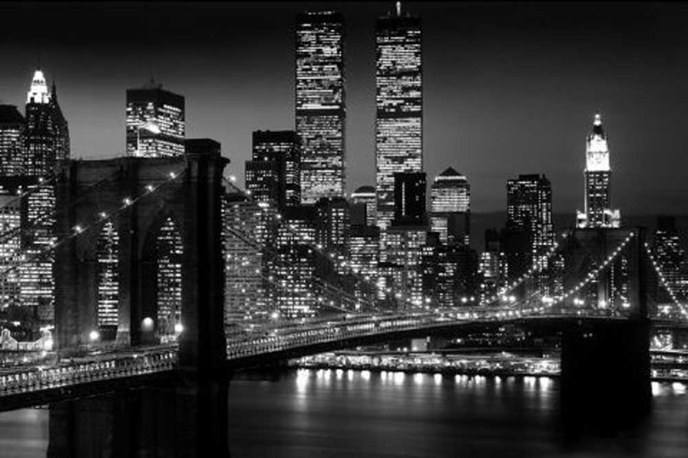 new york manhattan nyc brooklyn bridge schwarz wei poster druck 91 5x61 cm ebay. Black Bedroom Furniture Sets. Home Design Ideas