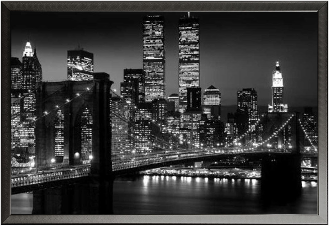 new york manhattan nyc brooklyn bridge schwarz wei. Black Bedroom Furniture Sets. Home Design Ideas