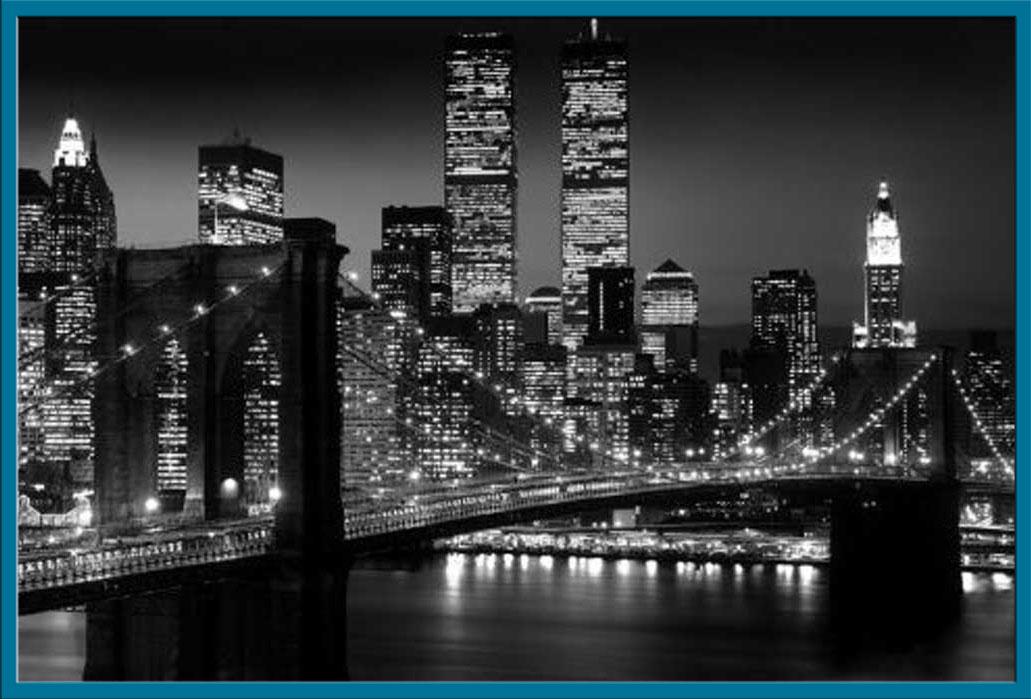 new york manhattan nyc brooklyn bridge schwarz wei poster druck 91 5x61 cm ebay. Black Bedroom Furniture Sets. Home Design Ideas