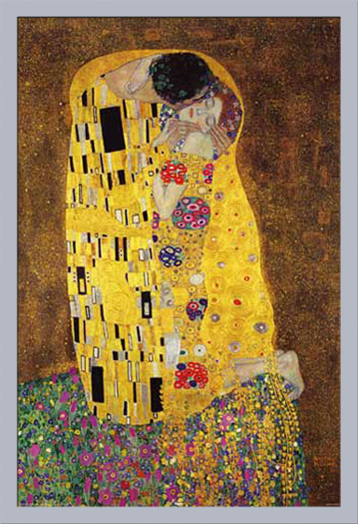gustav klimt der kuss the kiss kunst poster cm rahmen kunststoff mdf alu ebay. Black Bedroom Furniture Sets. Home Design Ideas