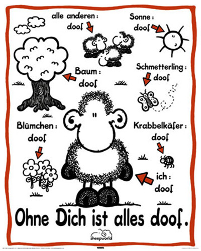 sheepworld ohne dich ist alles doof mini poster gr sse 40x50 cm ebay. Black Bedroom Furniture Sets. Home Design Ideas