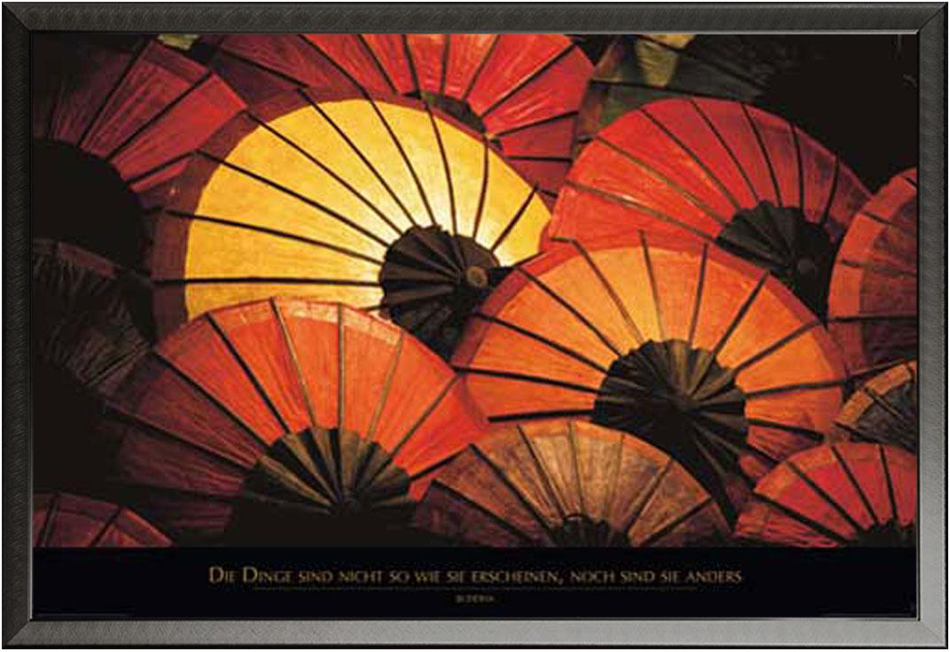 Motivational - Japanische Schirme - Poster Druck - + Rahmen ...
