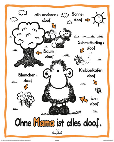 sheepworld ohne mama plakat poster druck rahmen mdf oder alu ebay. Black Bedroom Furniture Sets. Home Design Ideas