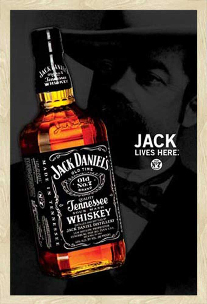 Jack Daniels - Whiskey Flasche - Poster Druck - cm + Rahmen ...