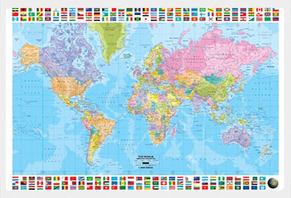 landkarten map politische weltkarte poster druck rahmen kunststoff mdf alu ebay. Black Bedroom Furniture Sets. Home Design Ideas