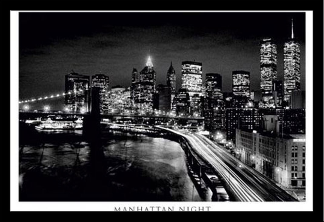new york manhattan bei nacht schwarz wei poster druck gr e 91 5x61 cm ebay. Black Bedroom Furniture Sets. Home Design Ideas