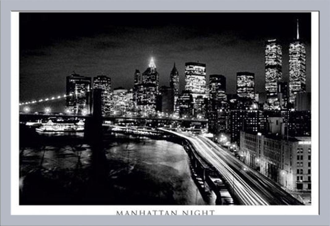 new york manhattan bei nacht schwarz wei poster druck gr e 91 5x61 cm ebay. Black Bedroom Furniture Sets. Home Design Ideas