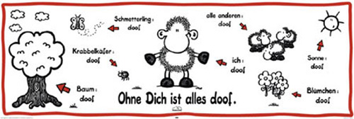 sheepworld ohne dich ist alles doof t r poster druck. Black Bedroom Furniture Sets. Home Design Ideas