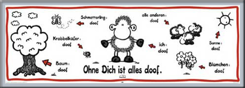 sheepworld ohne dich ist alles doof t r poster druck rahmen aus aluminium ebay. Black Bedroom Furniture Sets. Home Design Ideas