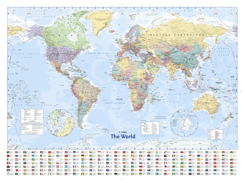 Landkarten Politische Weltkarte, Flaggen Englisch - + Rahmen ...