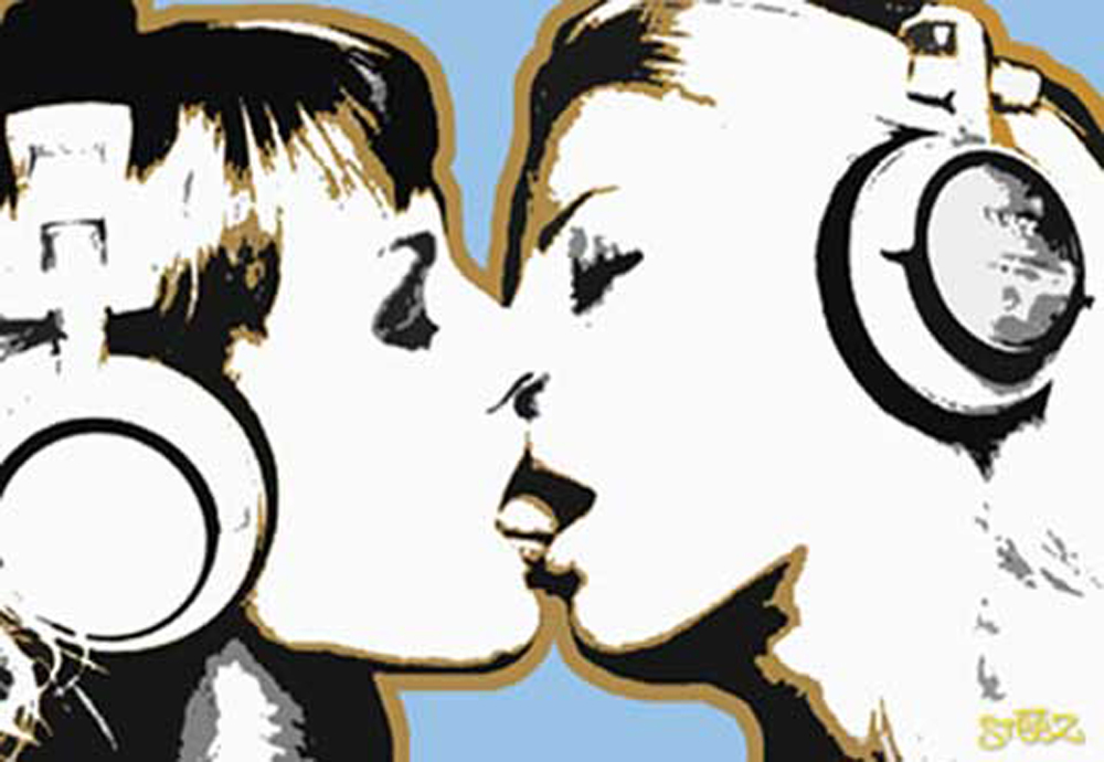 Steez DJ Girls, Kiss Retro Lounge - Poster Druck - + Rahmen ...