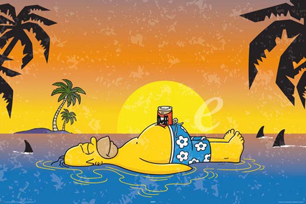 The Simpsons - Homer Shark - Comic - Poster Druck - + Rahmen ...