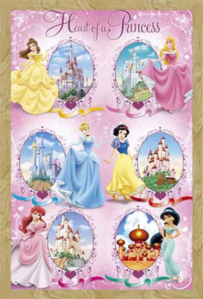 disney princess castles kinder poster druck rahmen. Black Bedroom Furniture Sets. Home Design Ideas