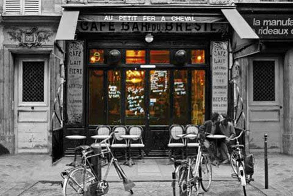Paris - Cafe Bar du-Bresil - Poster Druck - Größe cm + Rahmen ...