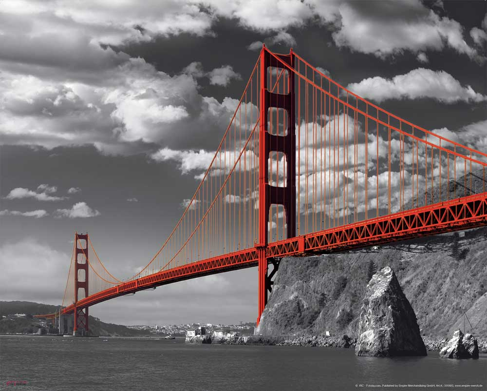 san francisco golden gate bridge plakat mini poster. Black Bedroom Furniture Sets. Home Design Ideas