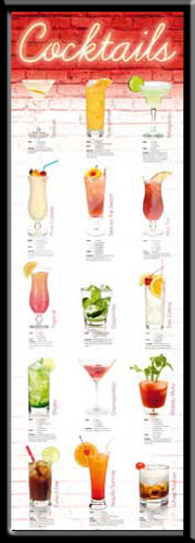 cocktails rezepte auf deutsch plakat t r poster ebay. Black Bedroom Furniture Sets. Home Design Ideas