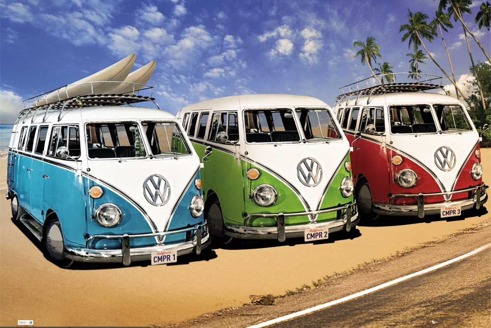 volkswagen vw bus surfer poster druck gr e cm rahmen kunststoff mdf alu ebay. Black Bedroom Furniture Sets. Home Design Ideas