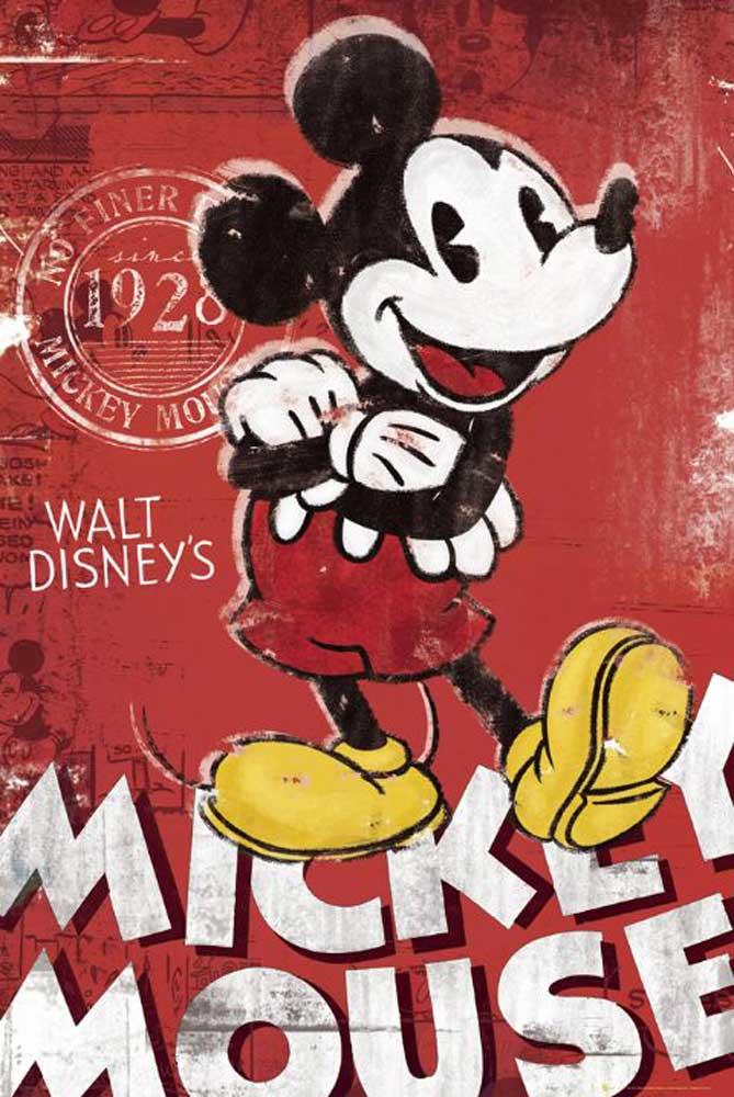 Mickey Mouse - Retro Red Disney-Poster - Poster - cm + Rahmen ...
