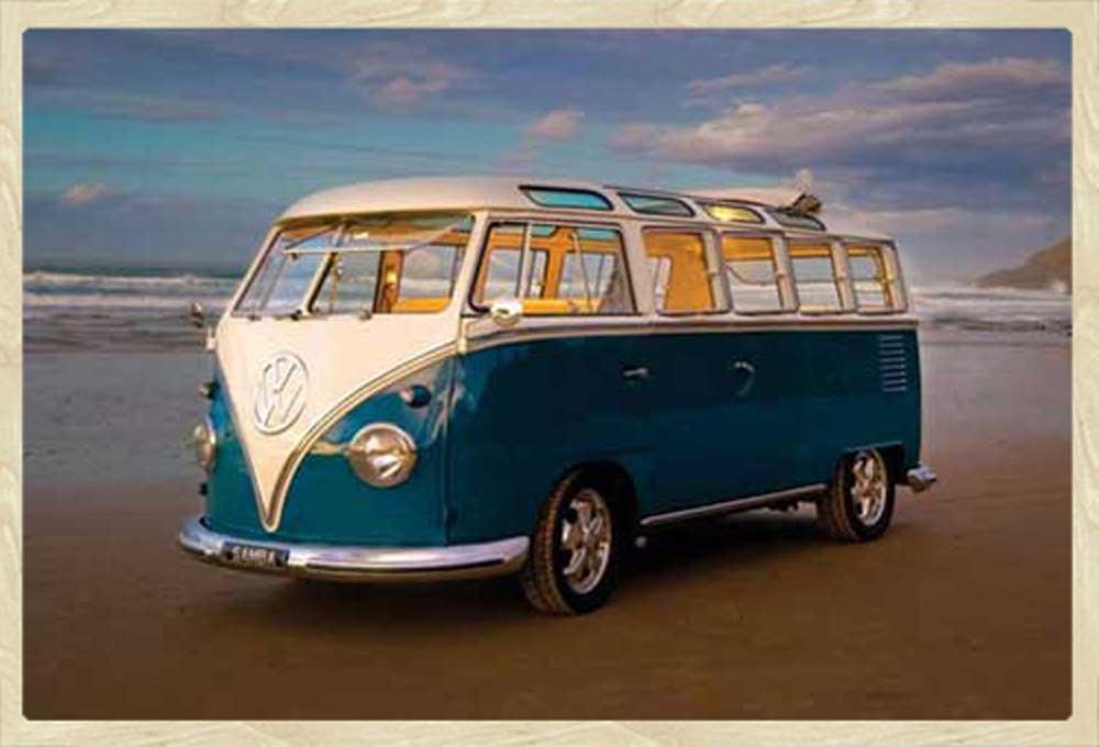 Volkswagen - VW Bus Bulli Camper T1 Auto Poster Druck + Rahmen MDF ...
