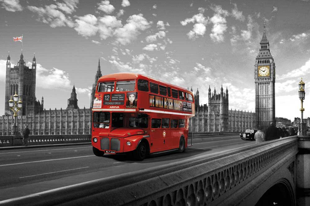 London Westminster, Bridge, Bus - Poster Druck - cm + Rahmen ...