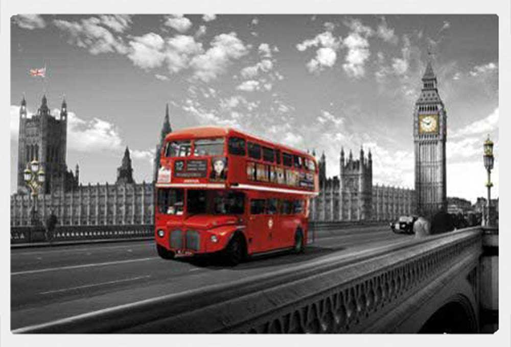 london westminster bridge bus poster druck cm rahmen kunststoff mdf alu ebay. Black Bedroom Furniture Sets. Home Design Ideas