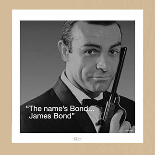 james bond zitat my name is bond kunstdruck. Black Bedroom Furniture Sets. Home Design Ideas