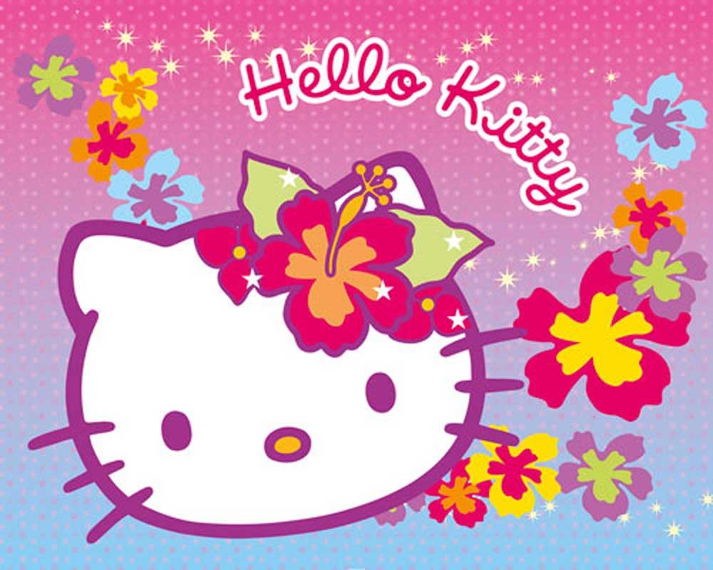 hello kitty blumen comic kunstdruck gr sse 50x40cm. Black Bedroom Furniture Sets. Home Design Ideas