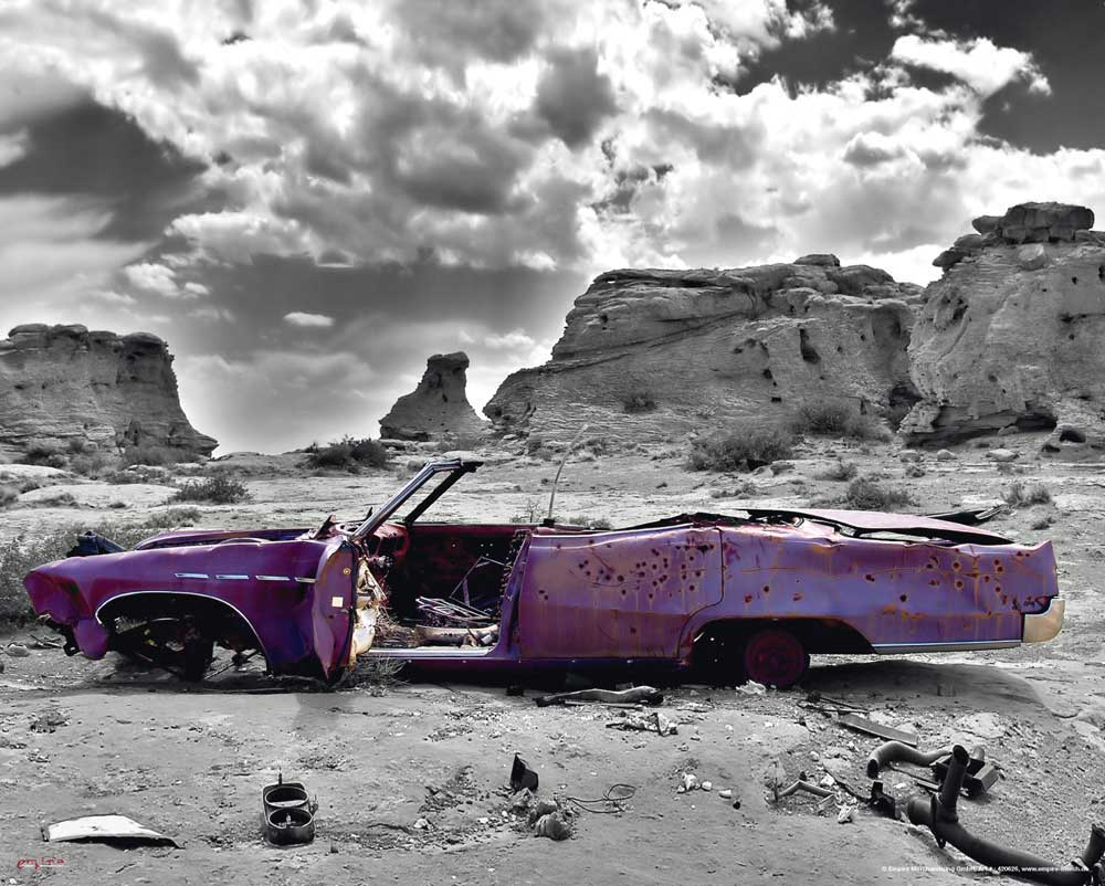 Wrecked Cadillac - Colourlight Auto Mini Poster Plakat + Rahmen MDF ...