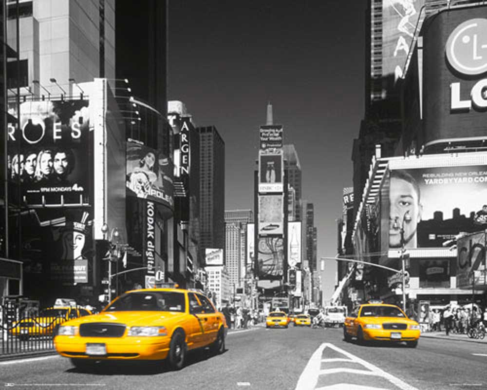 new york times square yellow cab mini poster st dte druck gr sse 50x40 cm ebay. Black Bedroom Furniture Sets. Home Design Ideas