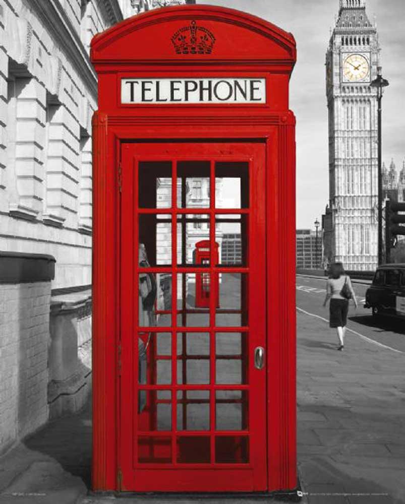 London - Rote Telefonzelle Version 2 - Städte Mini + Rahmen MDF oder ...