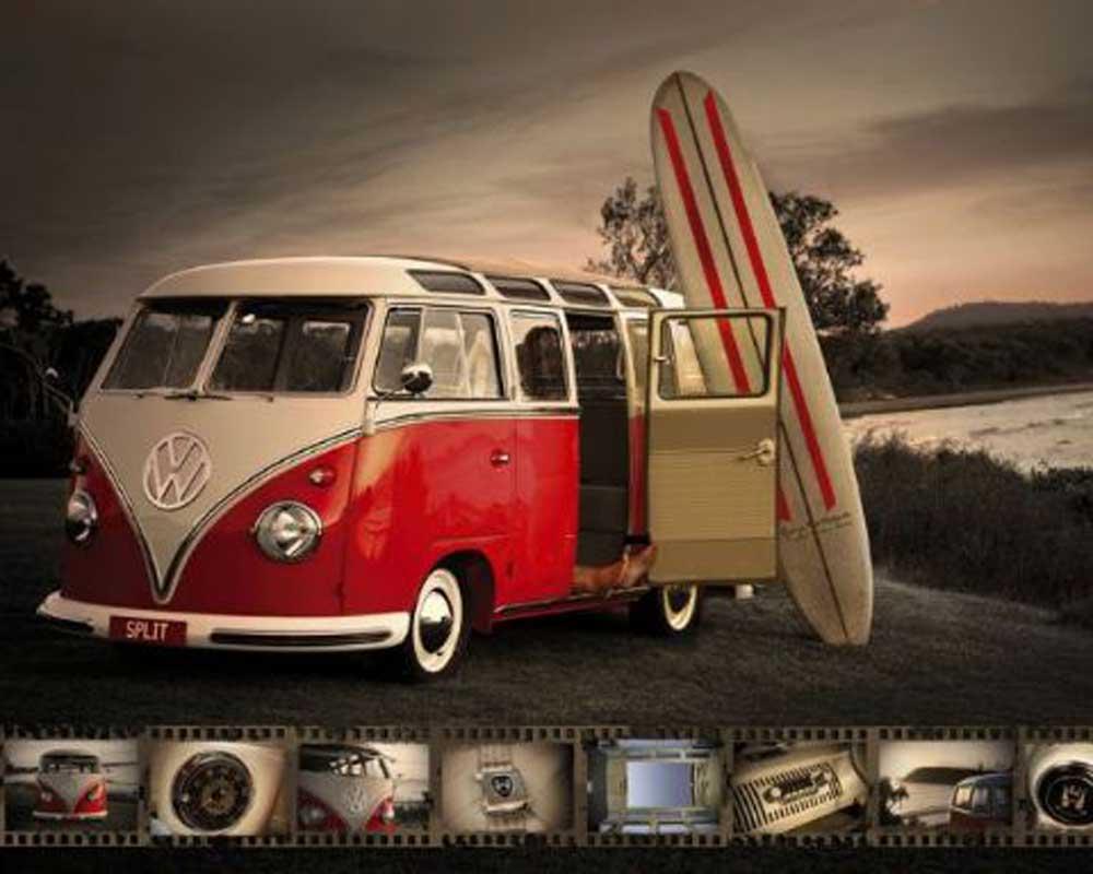 Volkswagen - VW - Bus - Camper mit Surfbrett Mini + Rahmen MDF oder ...