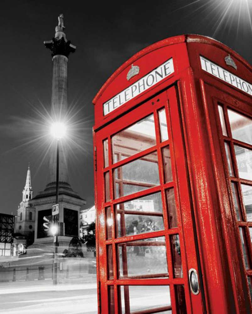 London - Rote Telefonzelle - colourlight Städte Mini + Rahmen MDF ...