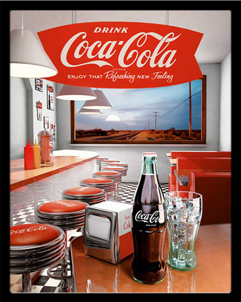 coca cola diner plakatkunst werbung mini poster plakat druck ebay. Black Bedroom Furniture Sets. Home Design Ideas