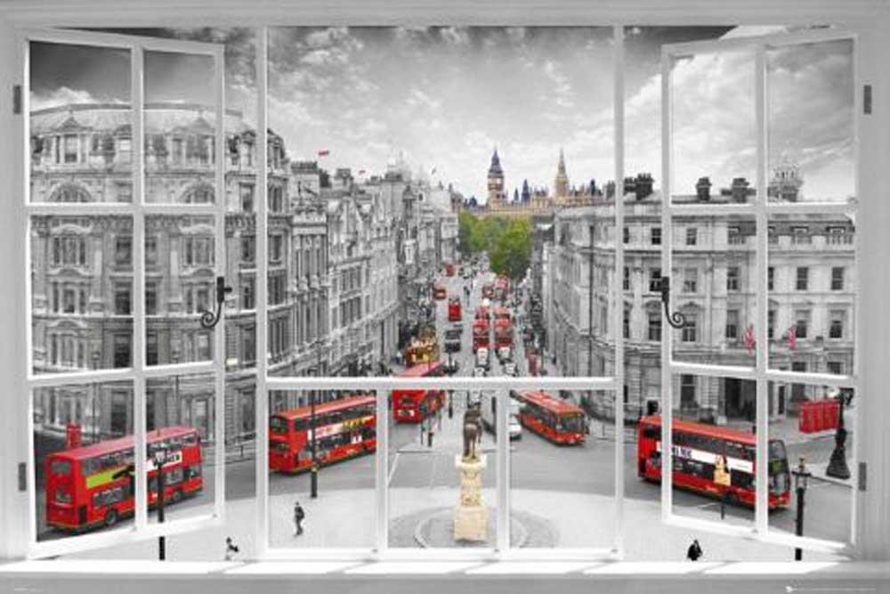 London - Fensterblick - Städte City Window - Poster + Rahmen ...
