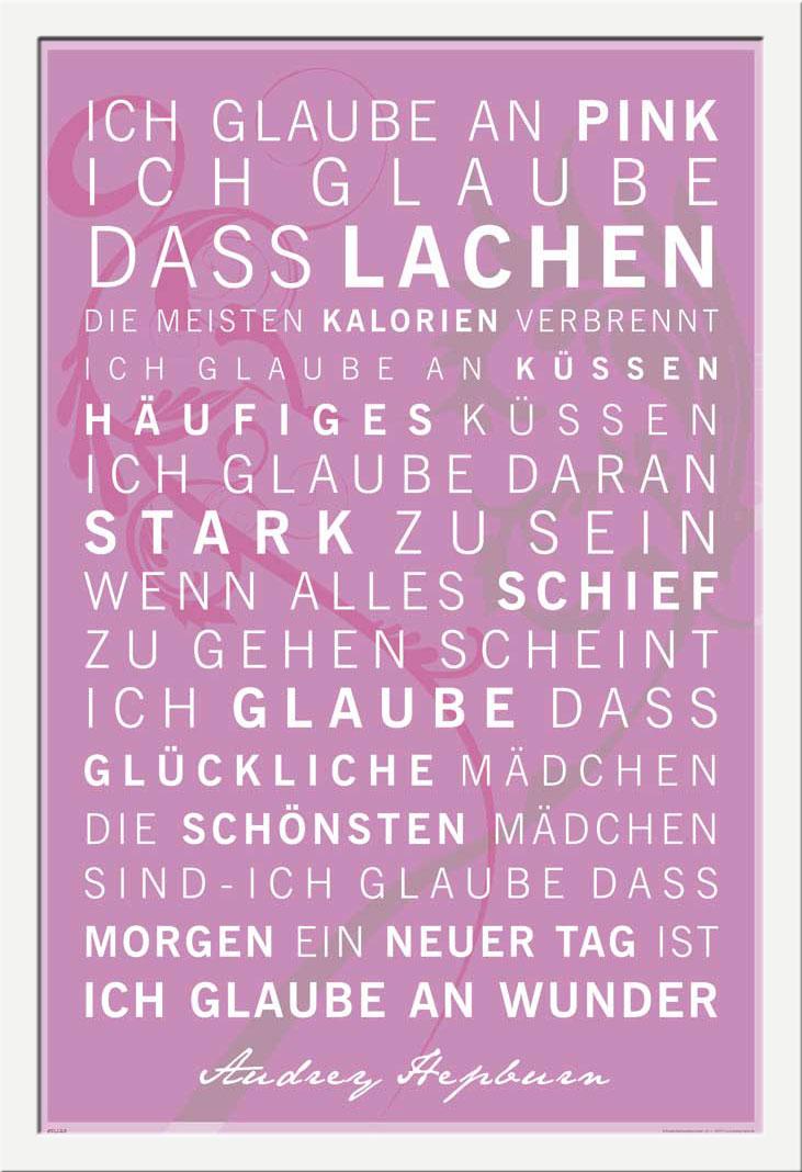 Ich glaube an Pink - 61x91,5cm - Motivational Poster + Rahmen MDF ...