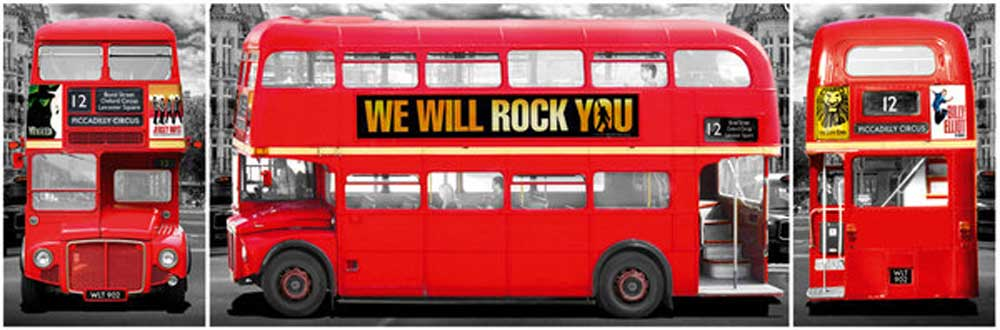 london roter bus triptychon t r poster xxl poster. Black Bedroom Furniture Sets. Home Design Ideas