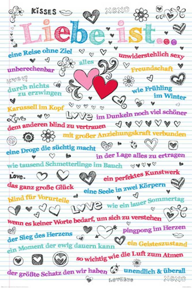 Motivational - Liebe ist alles Love Sprüche - Poster + Rahmen ...