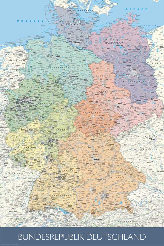 landkarten politische deutschlandkarte ma stab 1 1 rahmen kunststoff mdf alu ebay. Black Bedroom Furniture Sets. Home Design Ideas