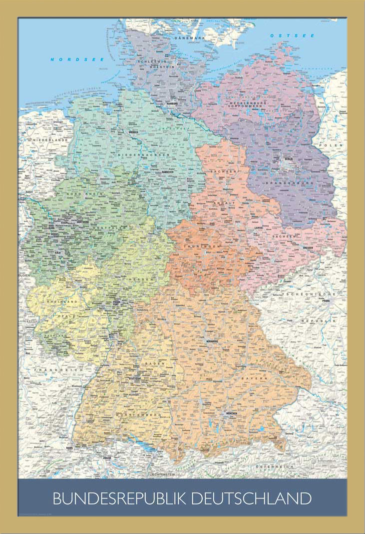 landkarten politische deutschlandkarte ma stab 1 1 mio poster druck 61x91 5 ebay. Black Bedroom Furniture Sets. Home Design Ideas