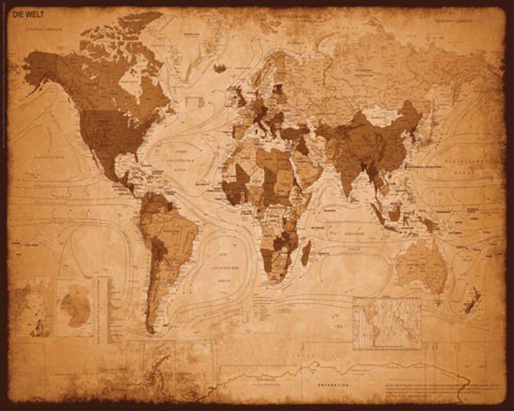 Landkarten - Antike Weltkarte - Plakat Mini Poster + Rahmen MDF oder ...