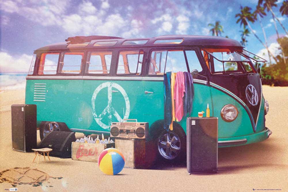 Autos - VW-Bus - Party VW Camper - Poster Druck - cm + Rahmen ...