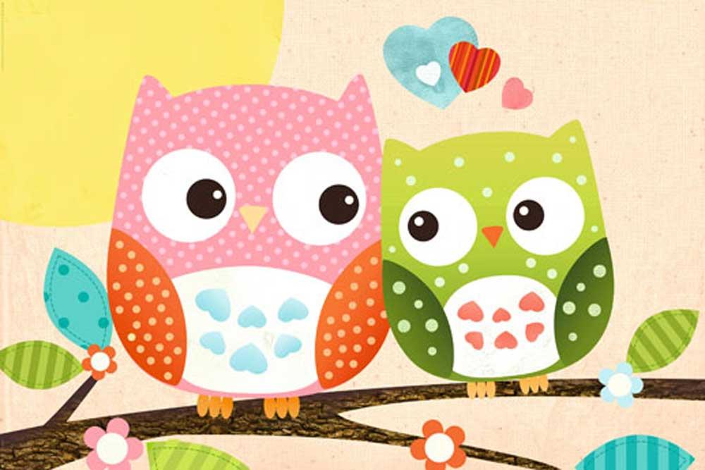 Sweet Owl - Hello Tiere Eule Poster Plakat Druck + Rahmen Kunststoff ...