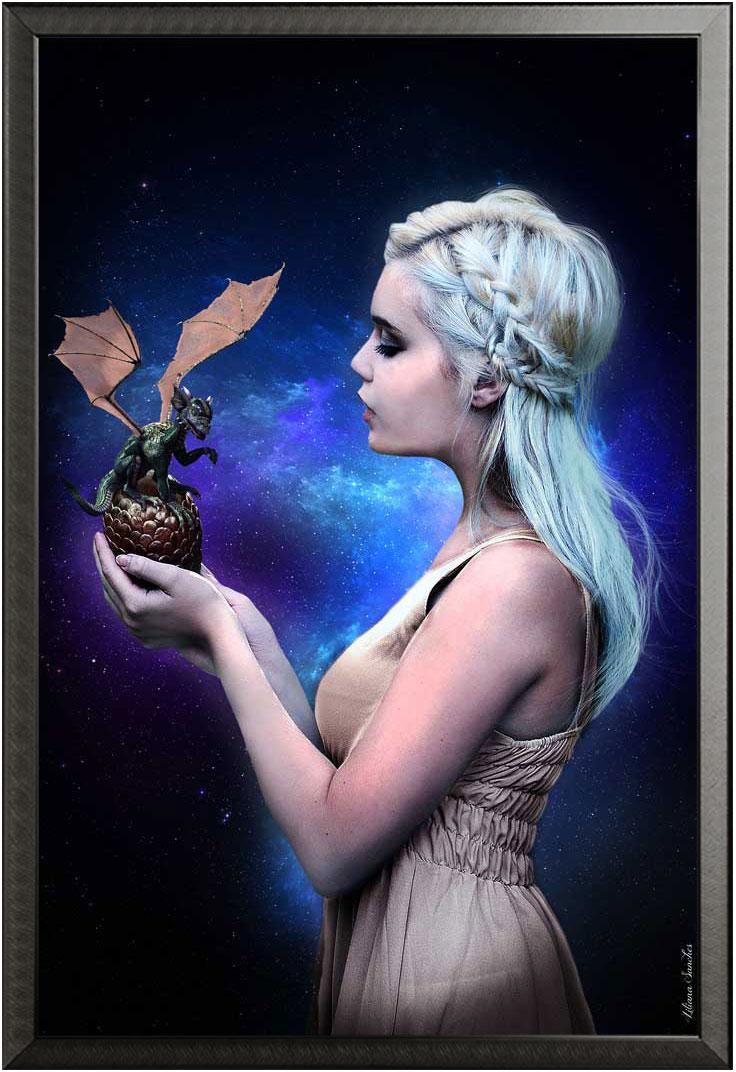 Liliana Sanches - Dragon Queen Drachen Fantasy Kunst + Rahmen ...