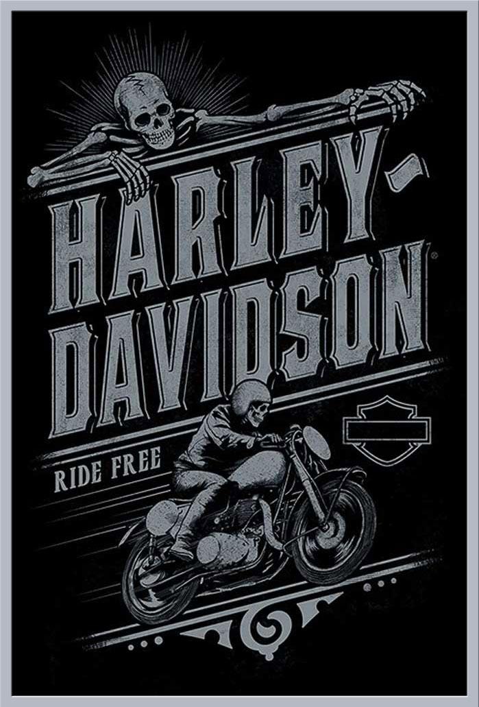 Harley Davidson - Ride Free - Motorrad - Poster - cm + Rahmen ...