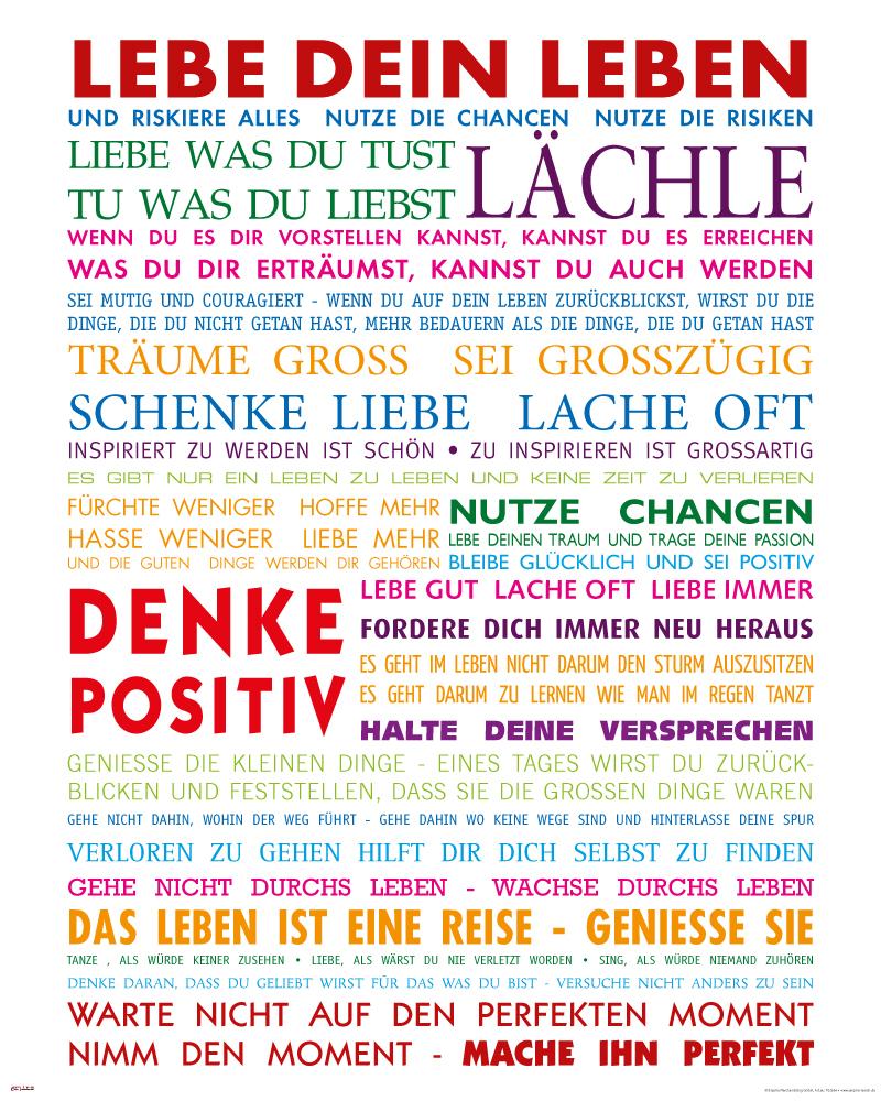 Lebe Dein Leben Bunt Motivational Kunstdruck - Mini Poster