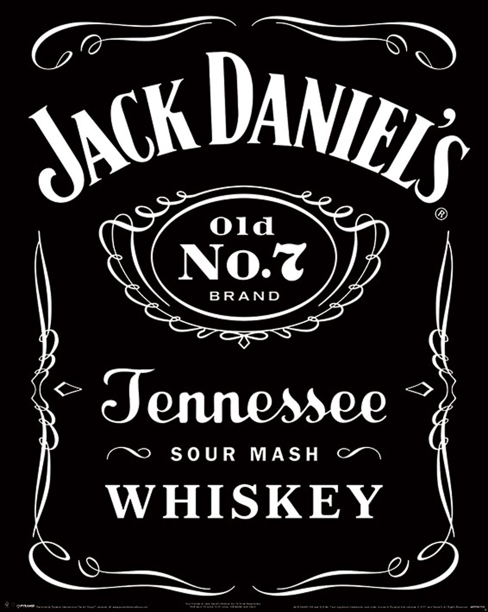 Jack Daniels - Label - Whiskey Mini Poster Plakat Druck - Größe ...